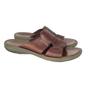 Merrell Mens Singapore Brown Leather Slide Sandals